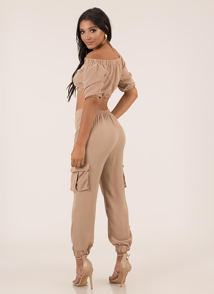 Precious Cargo Top And Jogger Set NUDE