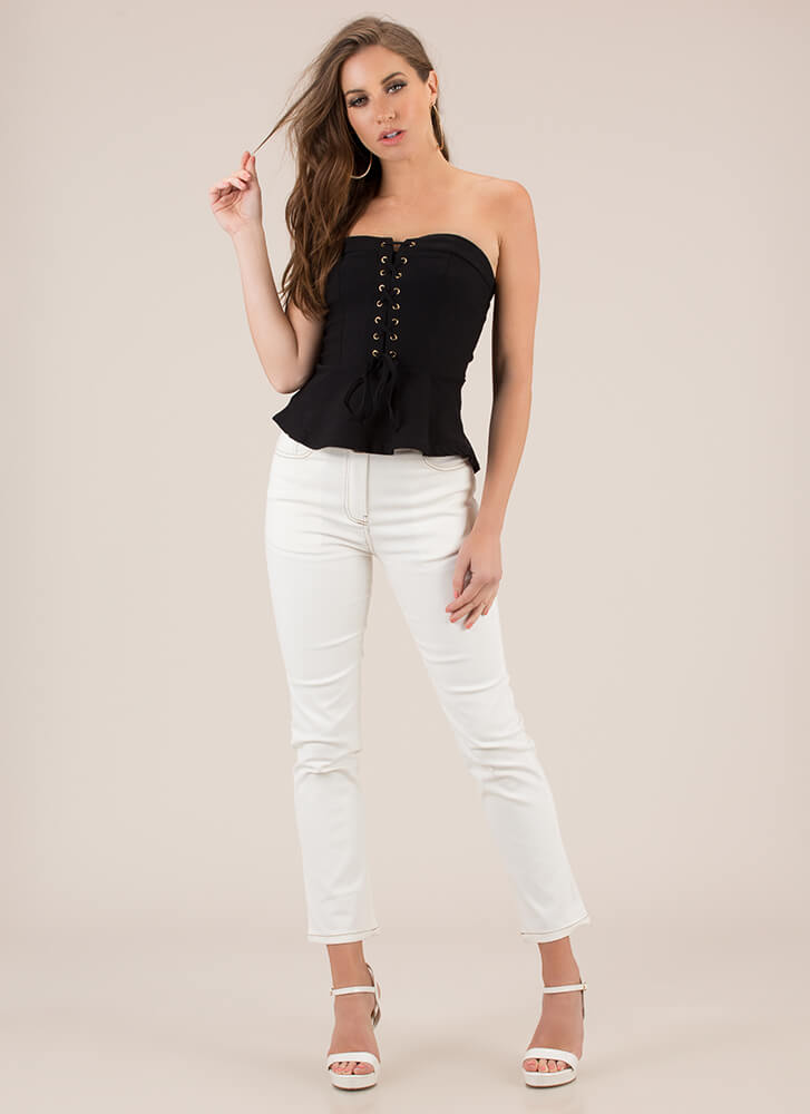 Laces To Go Strapless Peplum Top BLACK