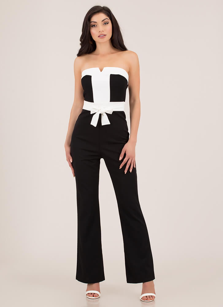 Grand Entrance Strapless Jumpsuit BLACKWHITE (Final Sale)