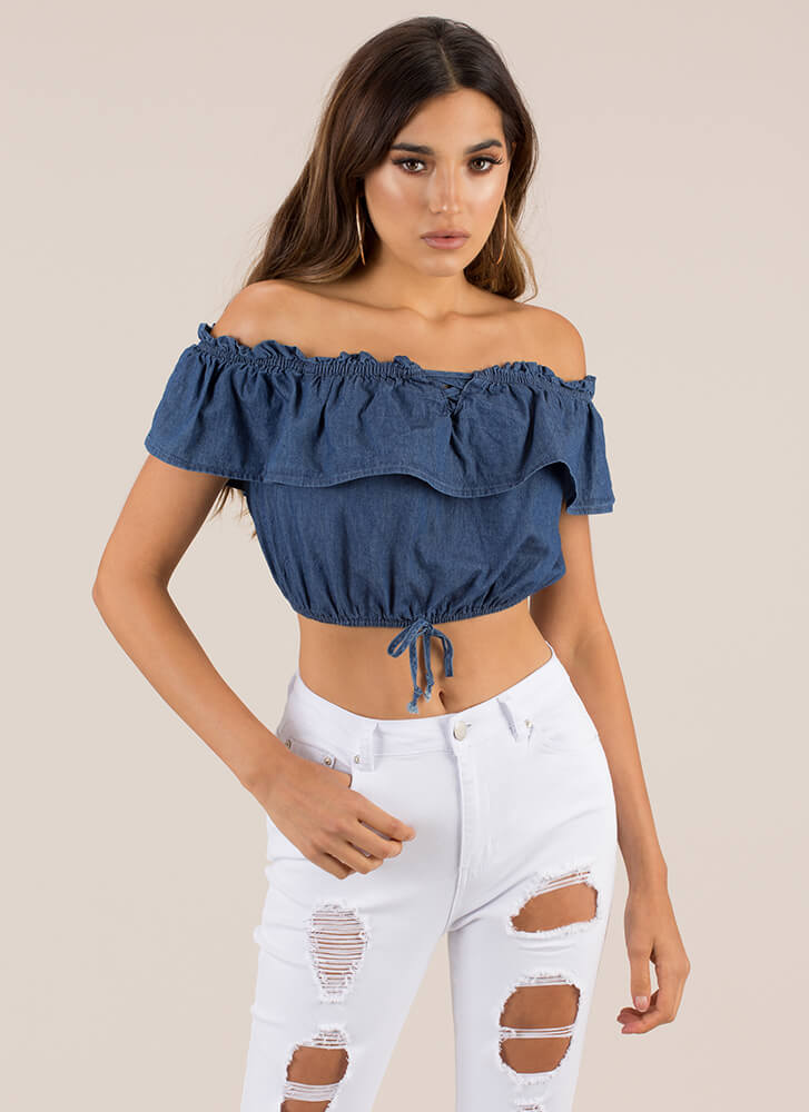 Ruffle Me Up Off-Shoulder Chambray Top DKBLUE