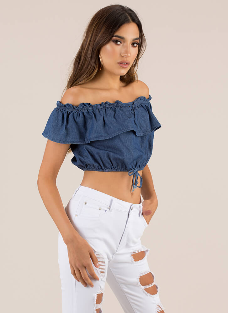 Ruffle Me Up Off-Shoulder Chambray Top DKBLUE (Final Sale)