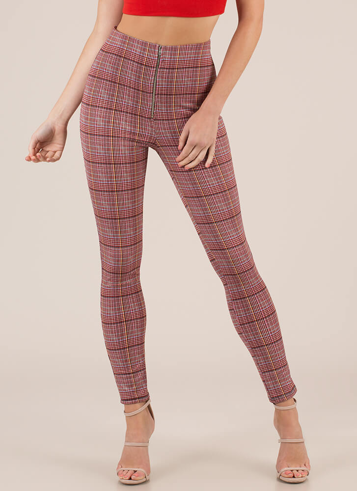 Plaid Pick High-Waisted Skinny Pants RED