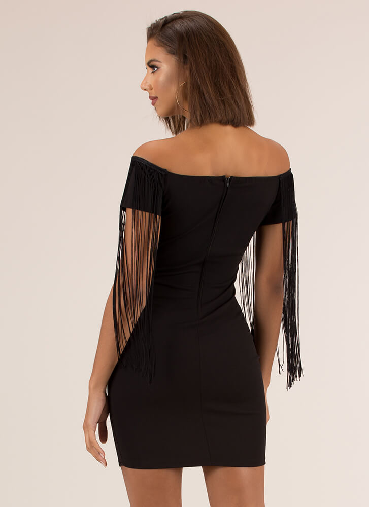 Fringe Action Off-Shoulder Dress BLACK