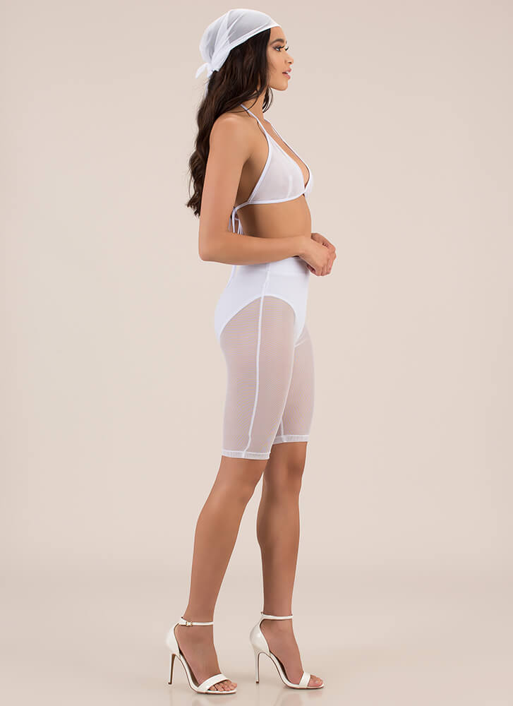 Sheer Of Yourself Mesh Three-Piece Set WHITE