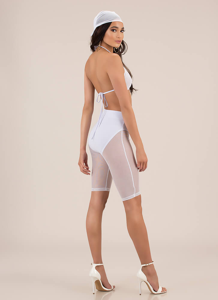 Sheer Of Yourself Mesh Three-Piece Set WHITE (Final Sale)