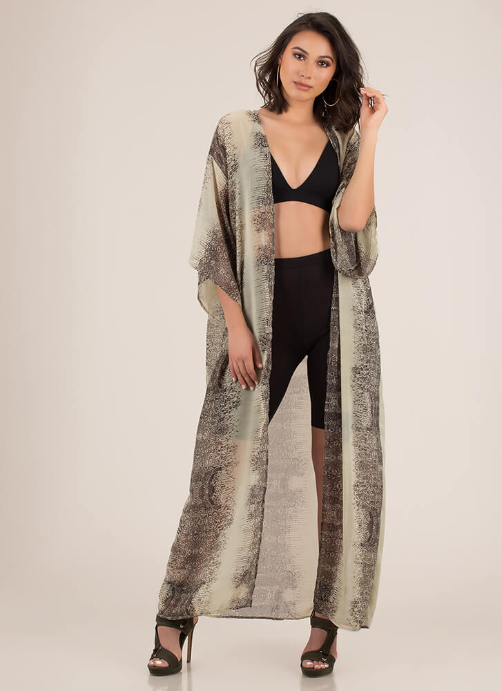 Print-cess Wrapped Kimono Duster OLIVE