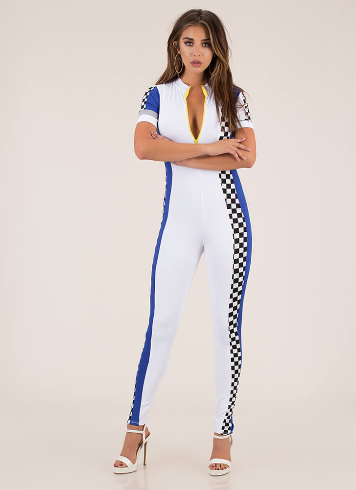 Race To The Finish Checkered Jumpsuit WHITE