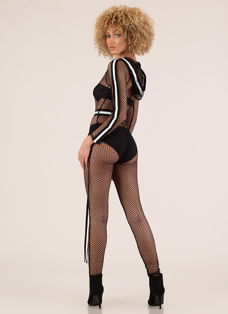 Net My Forte Striped Fishnet Jumpsuit BLACK