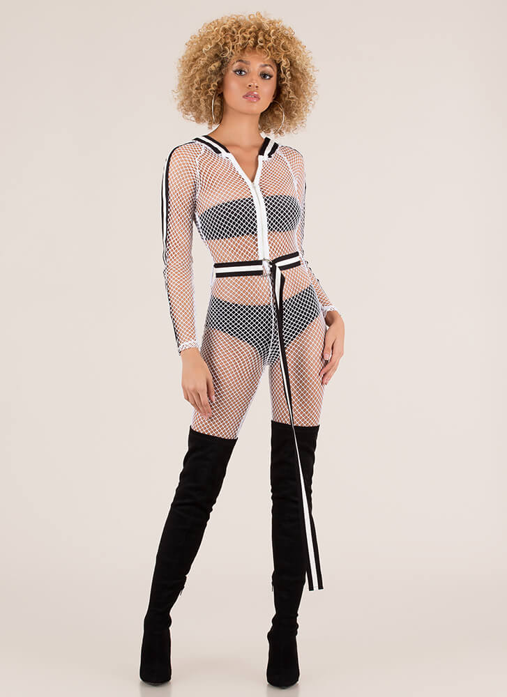 Net My Forte Striped Fishnet Jumpsuit WHITE