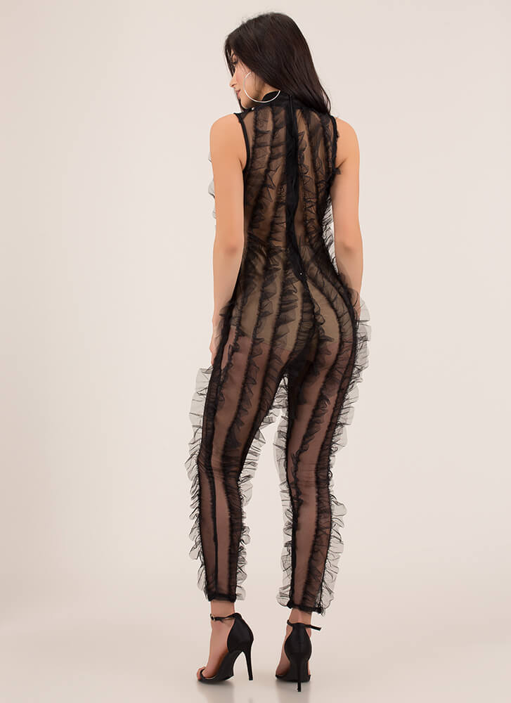 Cheers And Sheers Ruffled Jumpsuit BLACK
