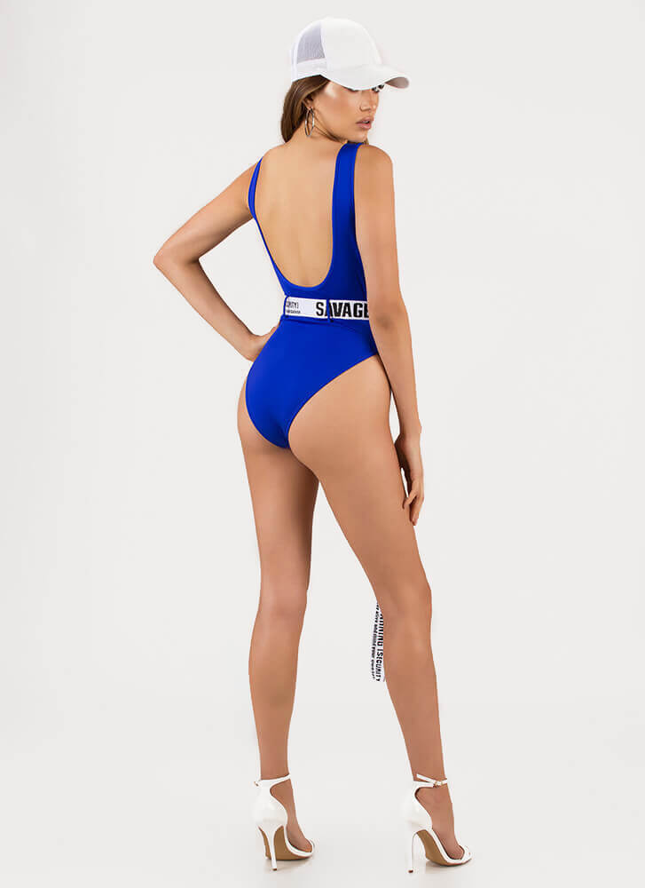Savage Warning Belted Swimsuit ROYAL (Final Sale)