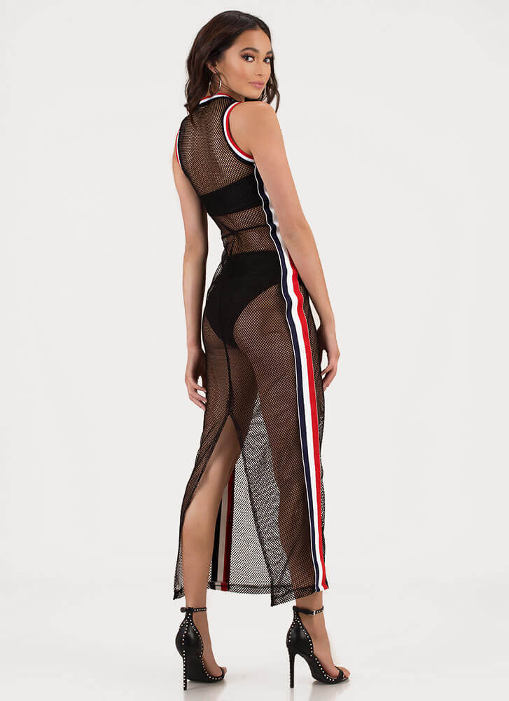 Net Worth Striped Sports Mesh Maxi BLACK