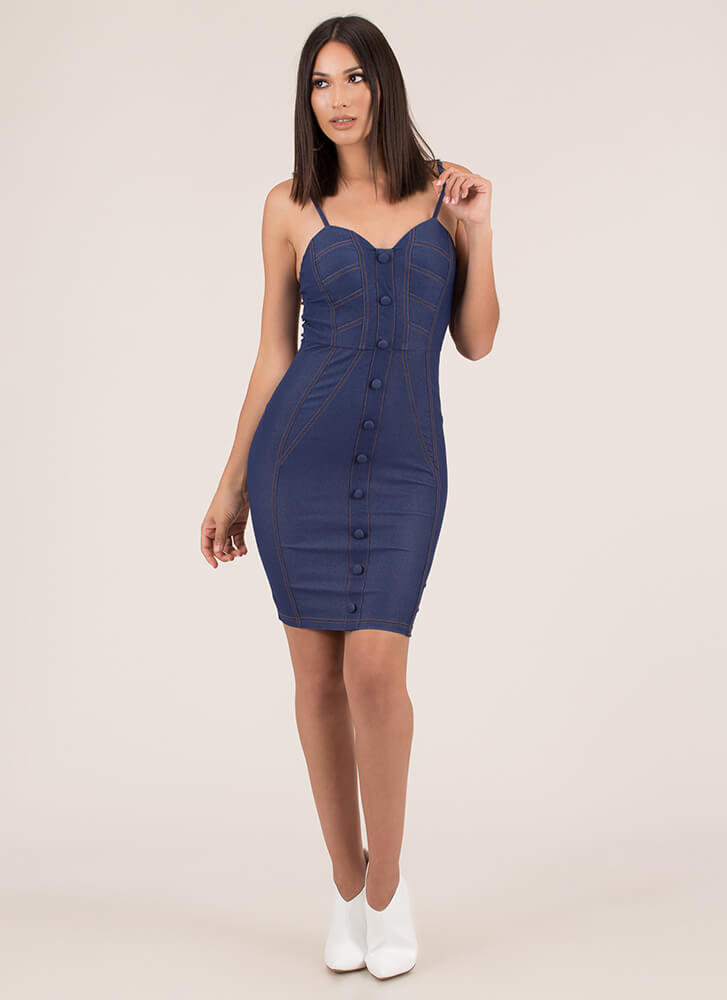 How Fitting Buttoned Denim Dress LTINDIGO