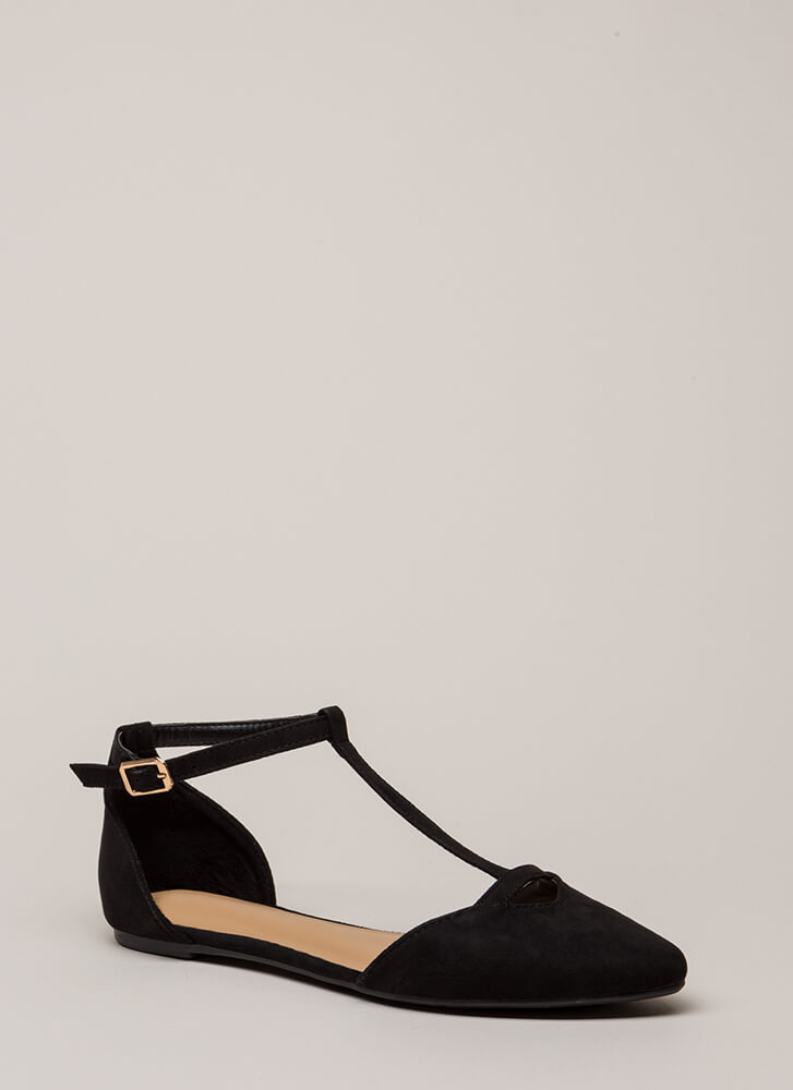 The Epitome Of Style T-Strap Flats BLACK