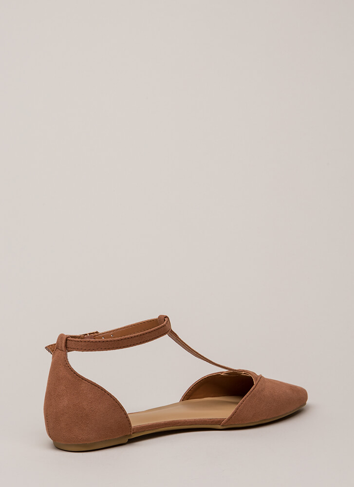 The Epitome Of Style T-Strap Flats MOCHA