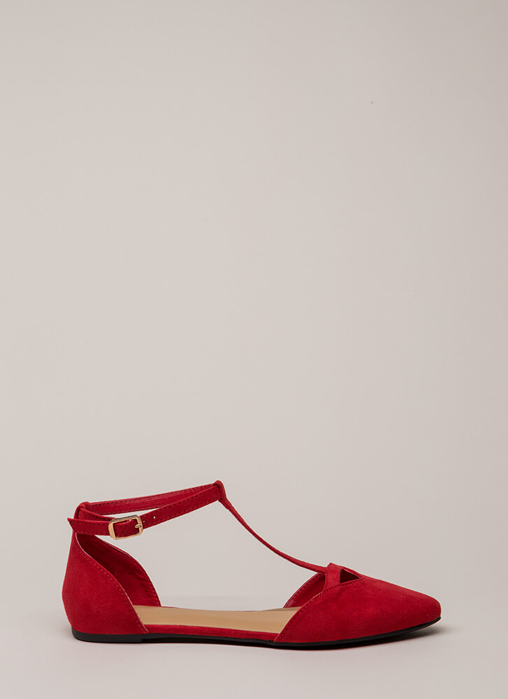 The Epitome Of Style T-Strap Flats RED