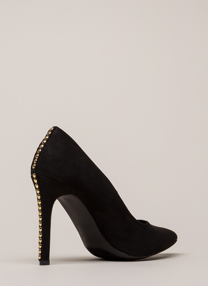 Studded Surprise Pointy Stiletto Pumps BLACK