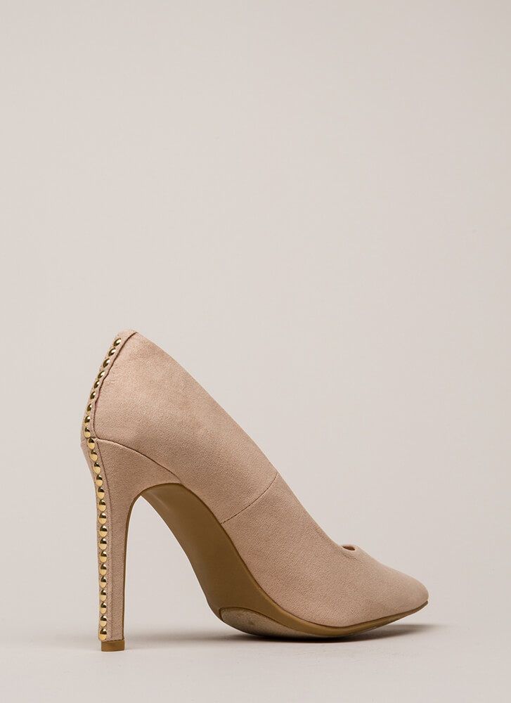 Studded Surprise Pointy Stiletto Pumps NUDE