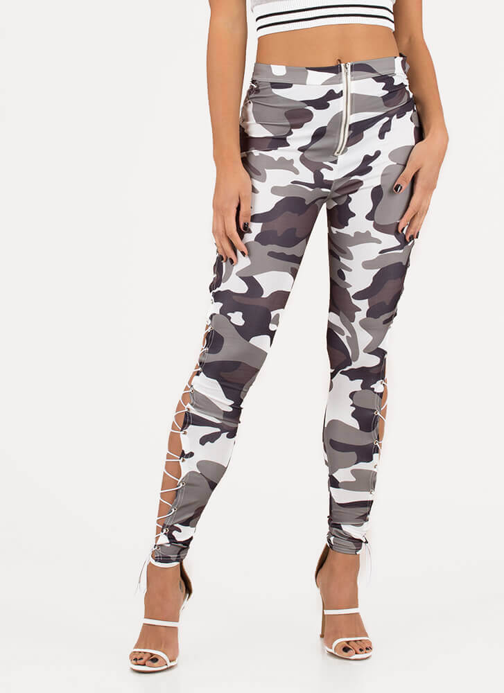 Rise In The Ranks Camo Lace-Up Leggings BLACKCAMO