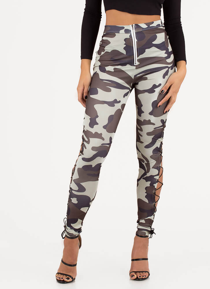 Rise In The Ranks Camo Lace-Up Leggings CAMO