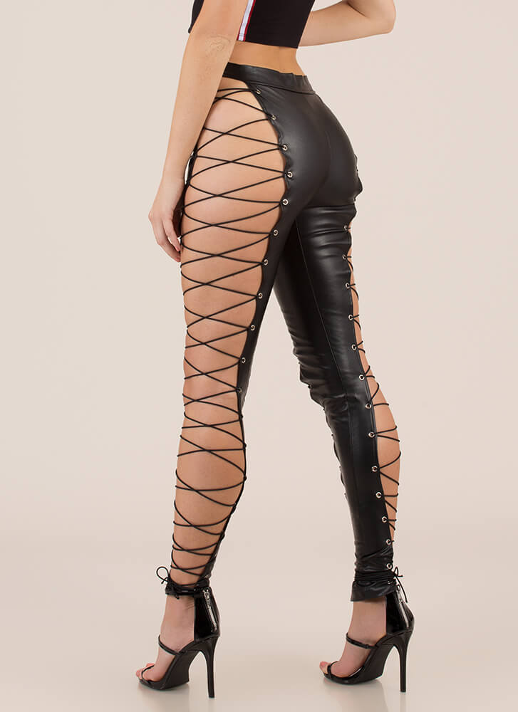 Leather And Laces Cut-Out Leggings BLACK
