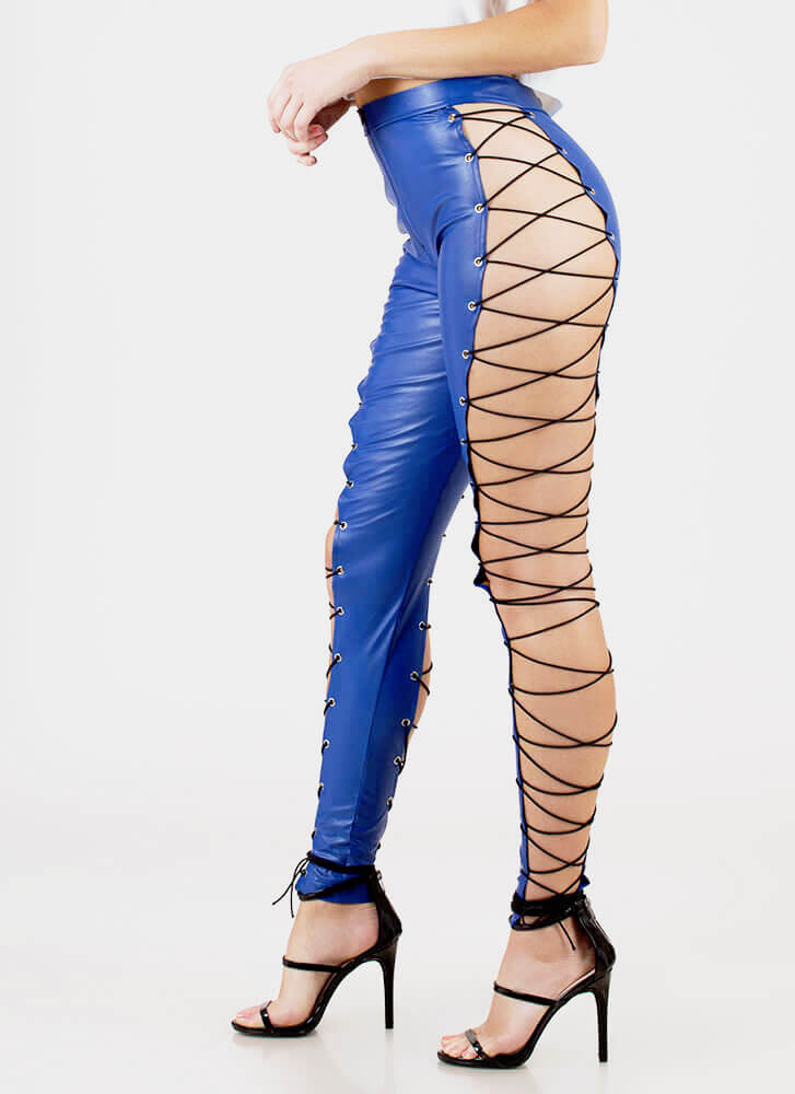 Leather And Laces Cut-Out Leggings BLUE