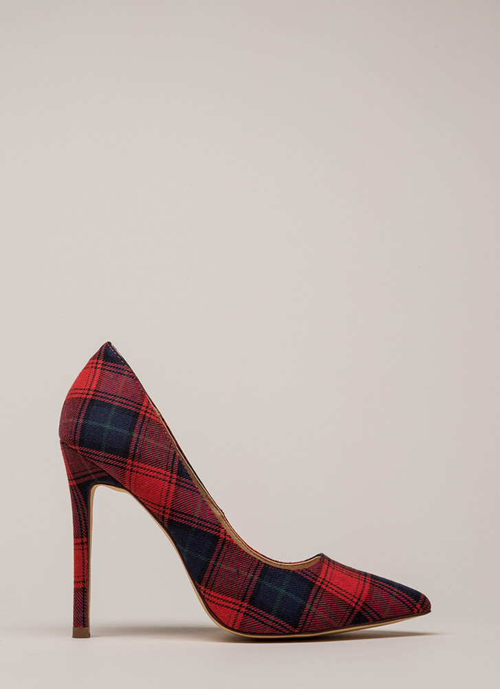 Plaid Girls Finish First Pointy Pumps RED