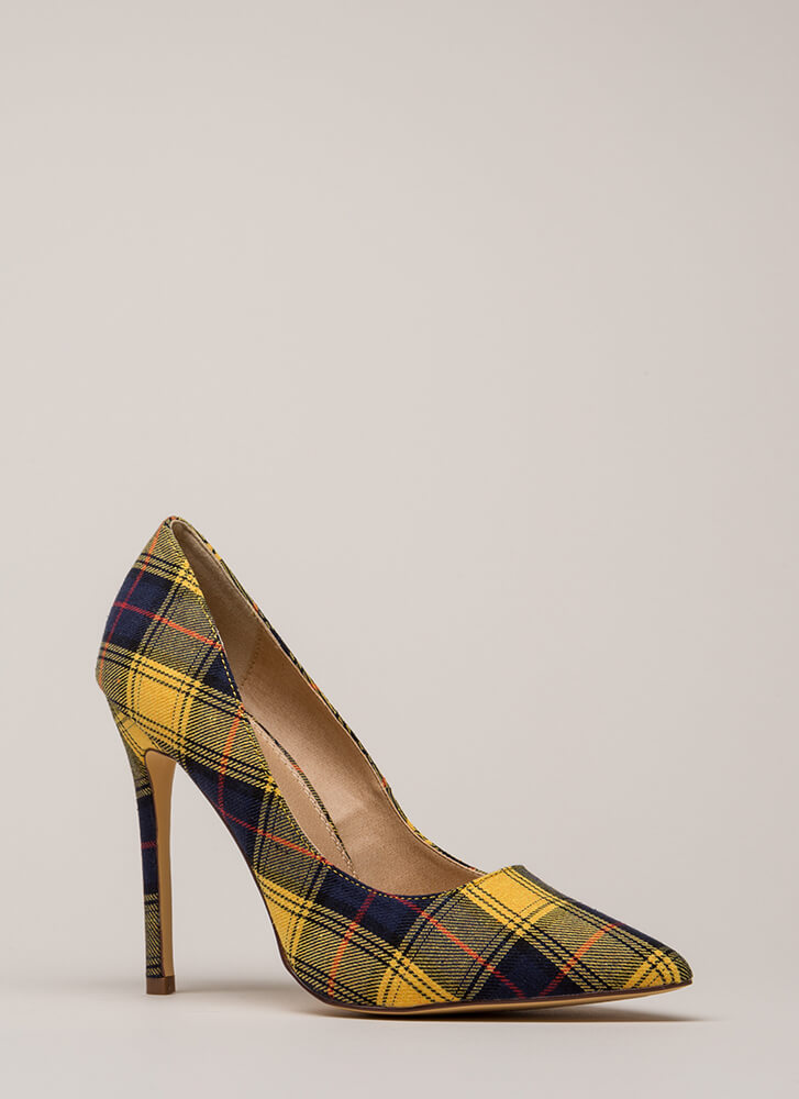 Plaid Girls Finish First Pointy Pumps YELLOW