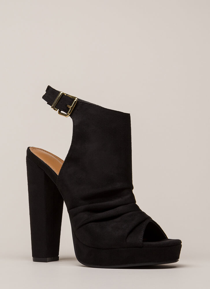 Slight Slouch Chunky Peep-Toe Platforms BLACK