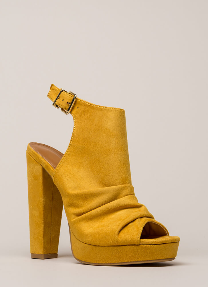 Slight Slouch Chunky Peep-Toe Platforms MUSTARD