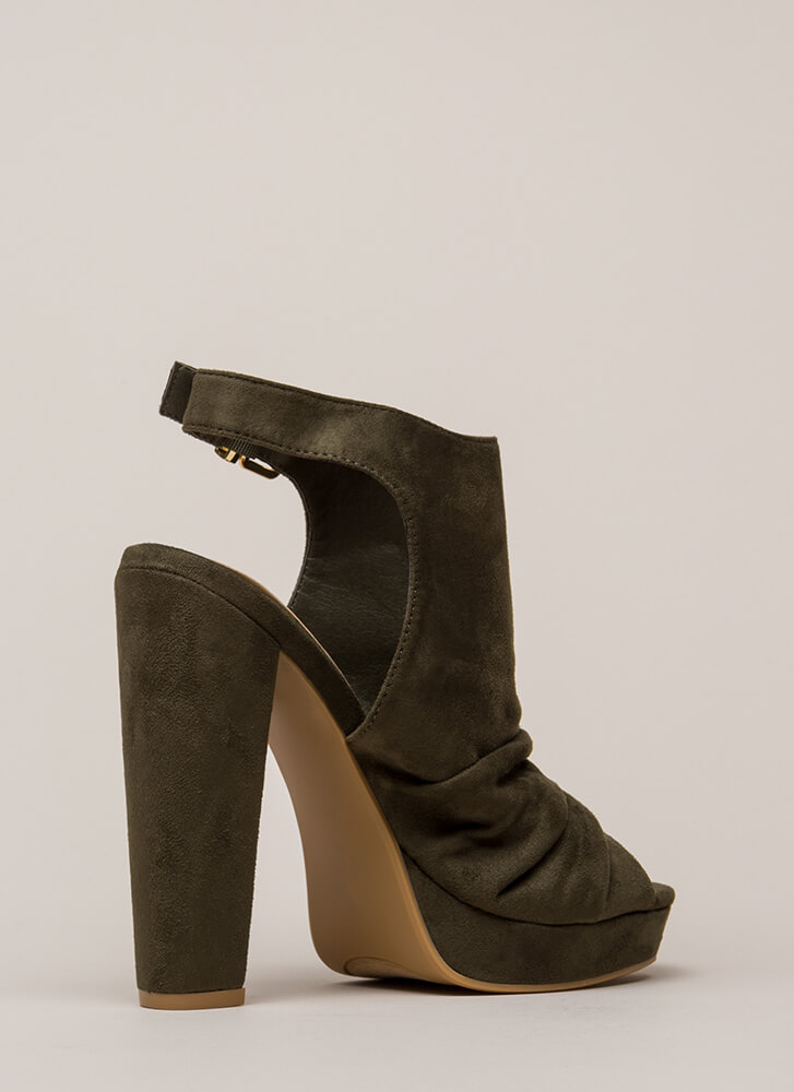 Slight Slouch Chunky Peep-Toe Platforms OLIVE