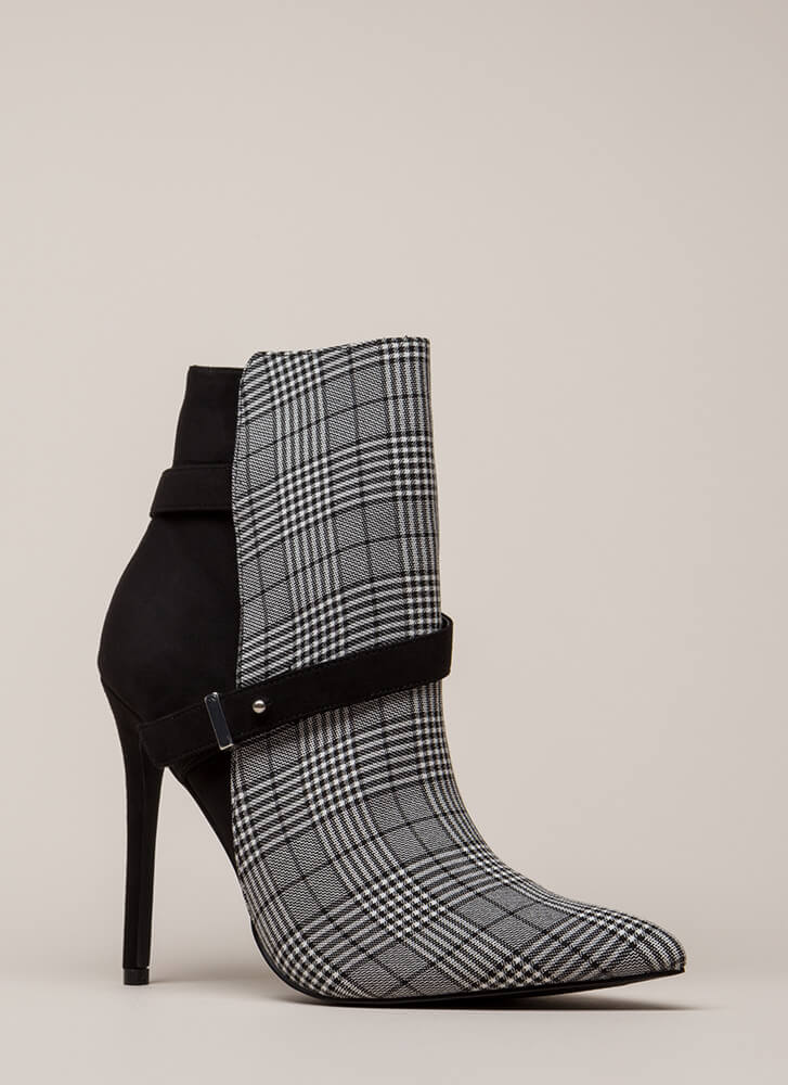 Strap On Pointy Printed Stiletto Booties BLACK