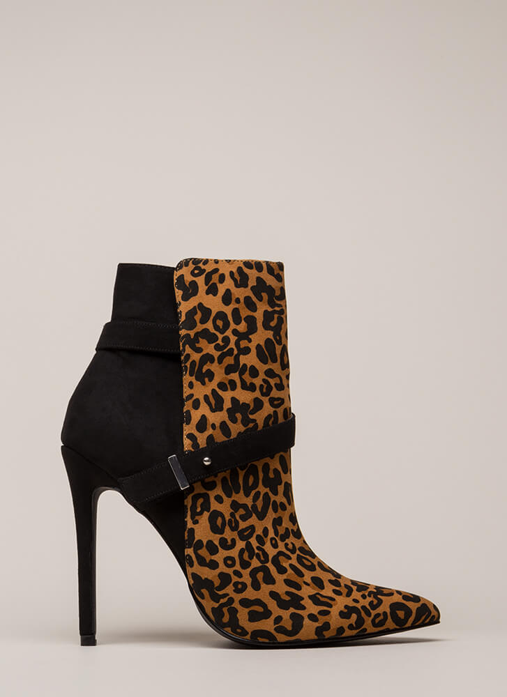 Strap On Pointy Printed Stiletto Booties LEOPARD