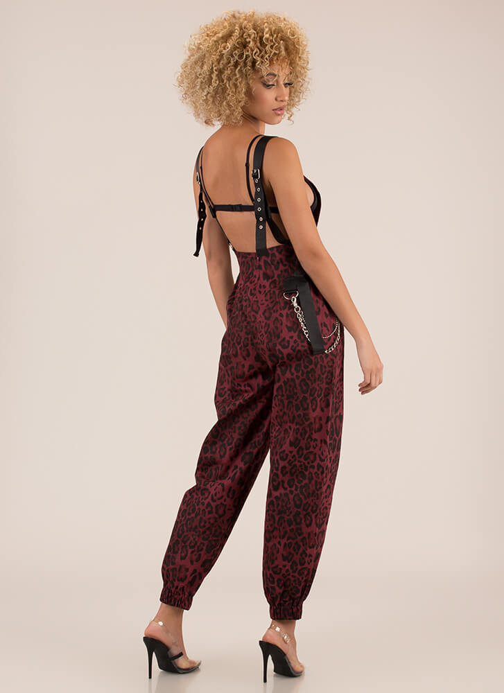 Hot Hardware Leopard Jogger Overalls RED