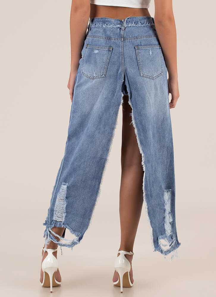 Hot Pants High-Low Destroyed Denim Skirt BLUE