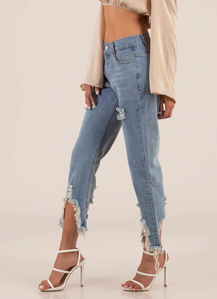 Ripped Destroyed Denim Boyfriend Jeans BLUE