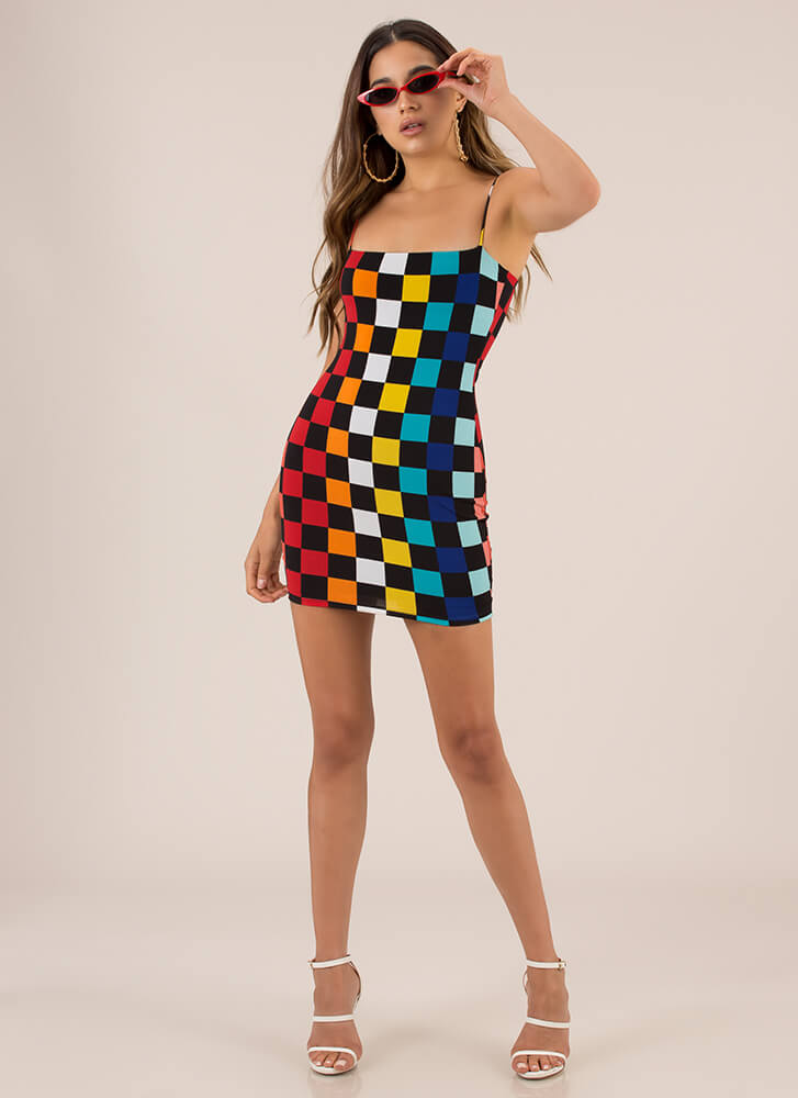 Checker Me Out Rainbow Minidress MULTI