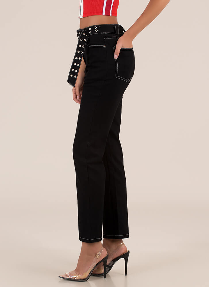 Badass Belted Straight-Leg Jeans BLACK