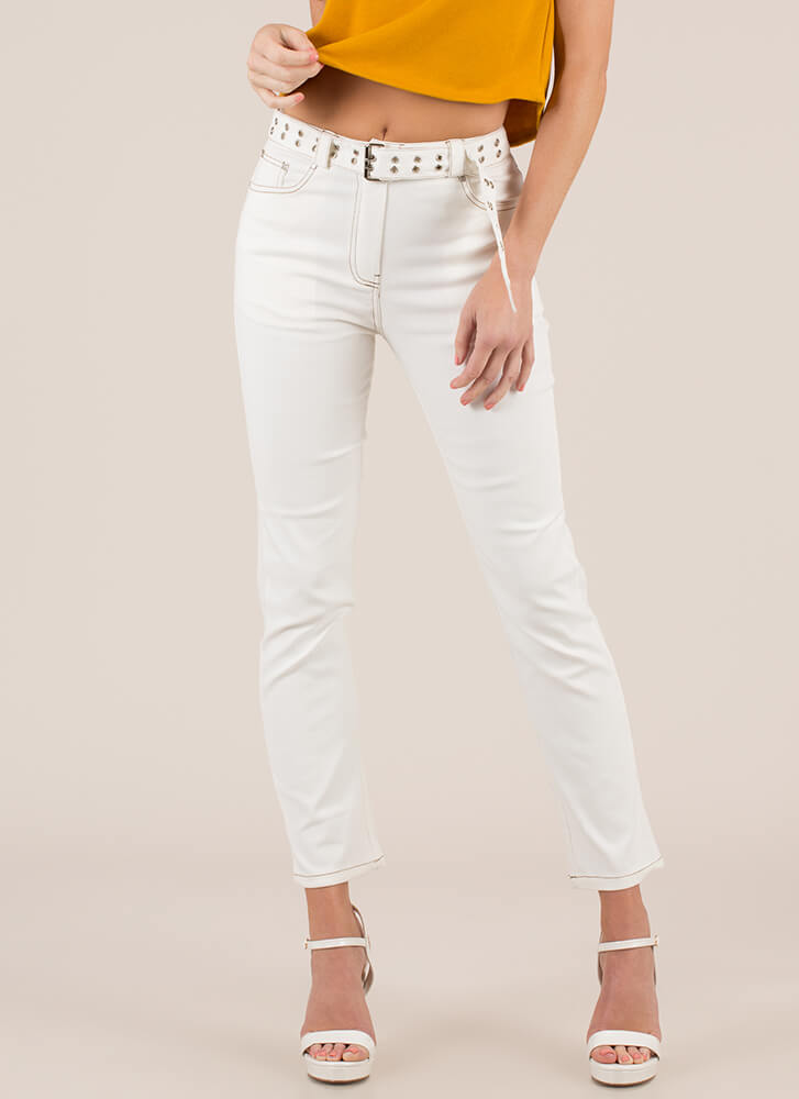 Badass Belted Straight-Leg Jeans WHITE