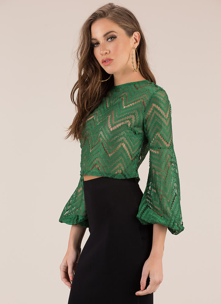 Put Me In My Lace Zigzag Crop Top KELLYGREEN