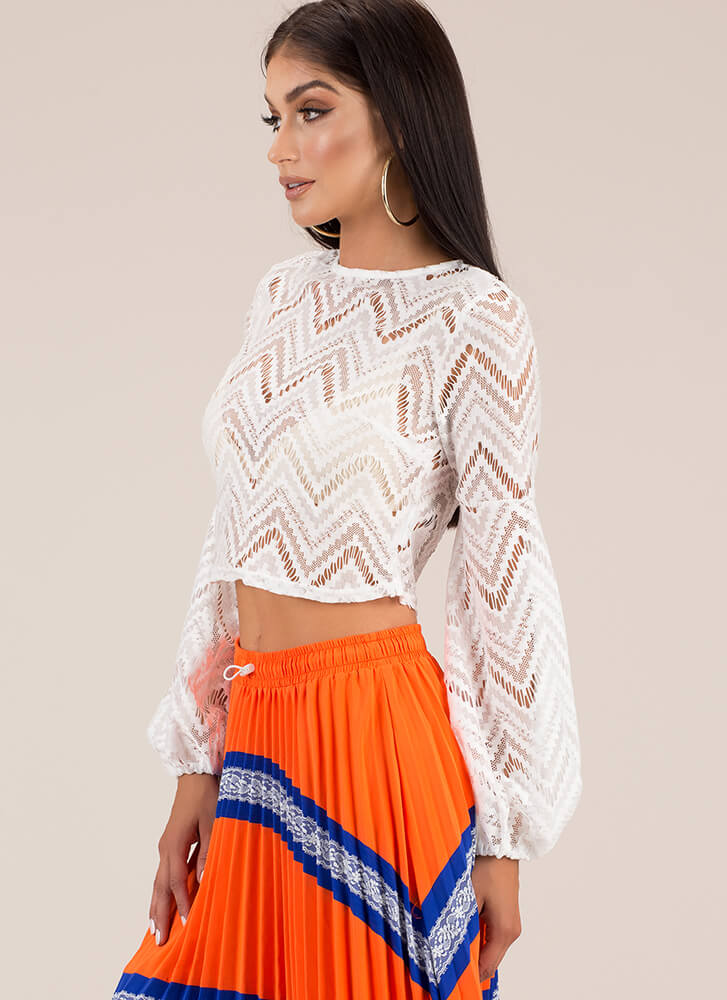 Put Me In My Lace Zigzag Crop Top WHITE