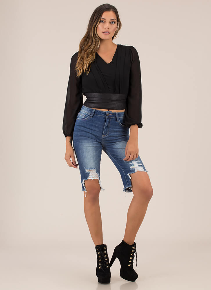 Pleating My Case Cropped Blouse BLACK (Final Sale)