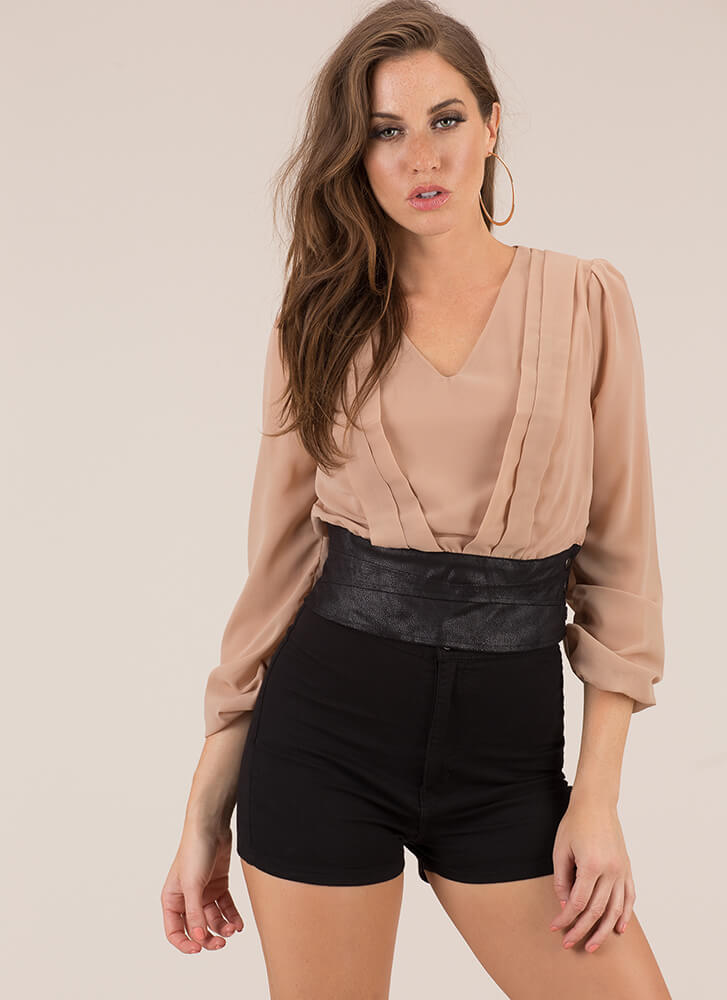 Pleating My Case Cropped Blouse TAUPE (Final Sale)