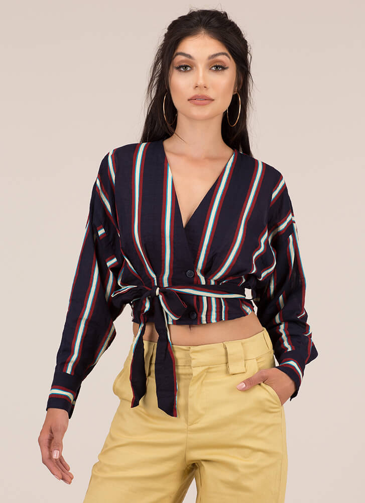 Tie Another Day Striped Cropped Blouse NAVY