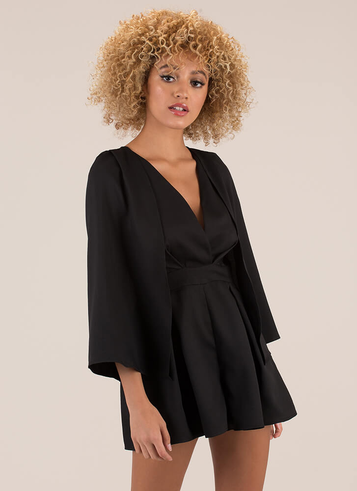 Flying High Pleated Caped Romper BLACK