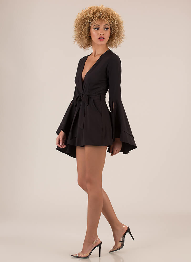 A Bit Dramatic Flare-Sleeve Romper BLACK (You Saved $17)