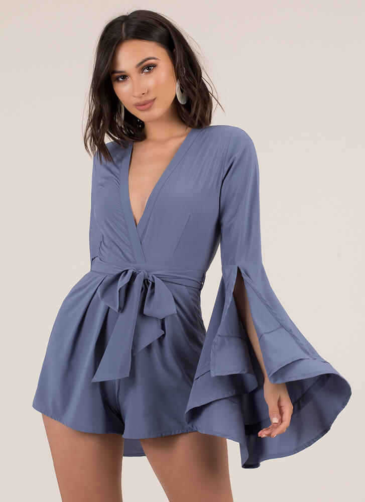 A Bit Dramatic Flare-Sleeve Romper DKBLUE (You Saved $17)