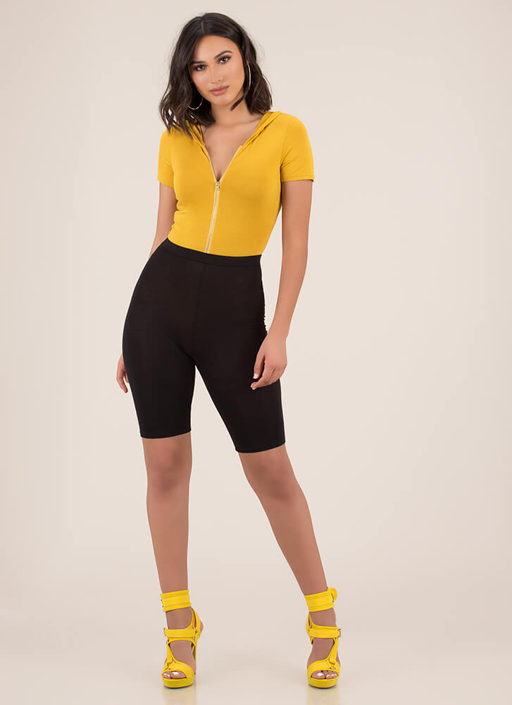 Good In The Hood Zip-Front Bodysuit MUSTARD