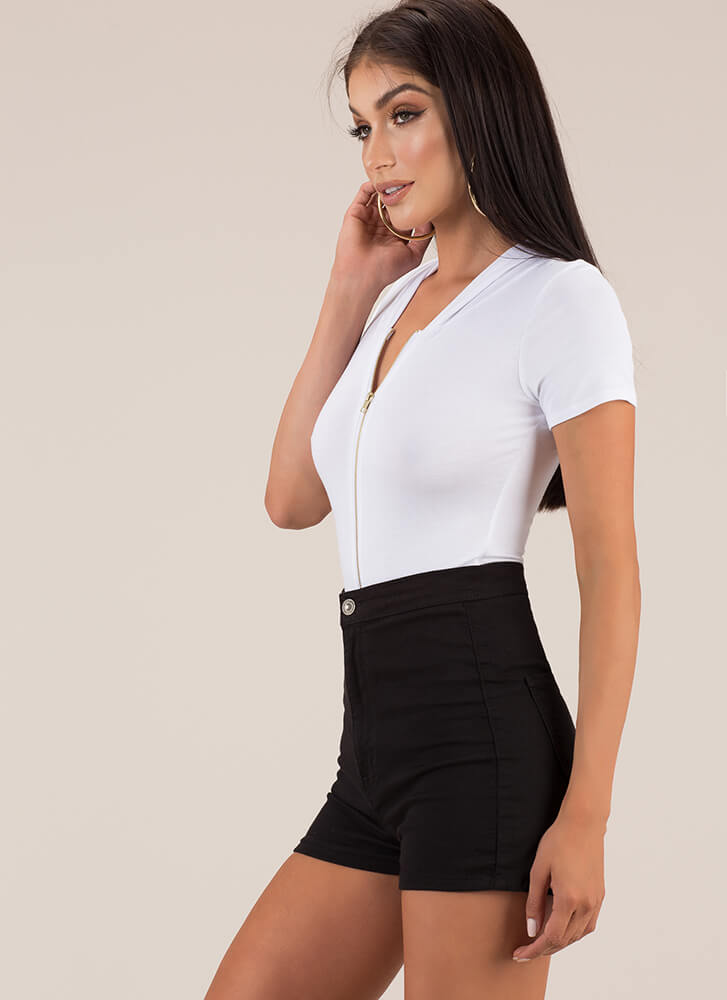 Good In The Hood Zip-Front Bodysuit WHITE
