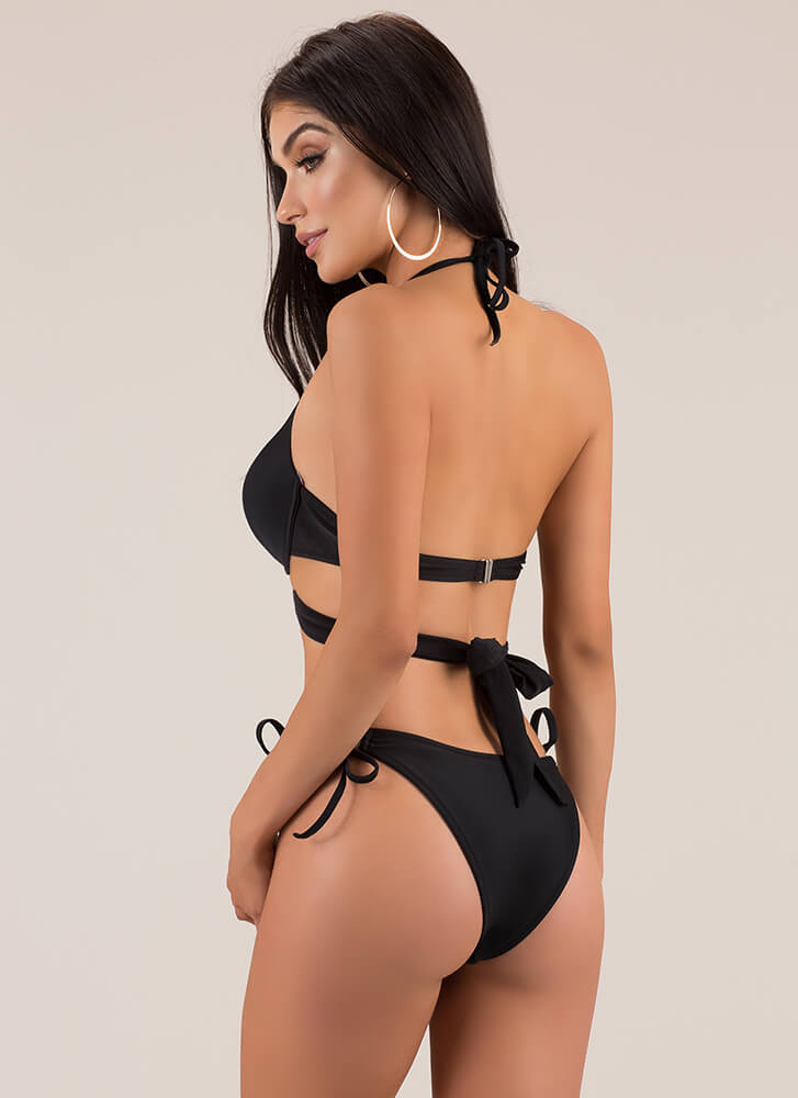 X's And Oohs Strappy Bikini Set BLACK (Final Sale)